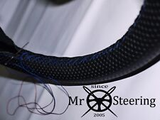FOR RELIANT SCIMITAR PERFORATED LEATHER STEERING WHEEL COVER R BLUE DOUBLE STCH