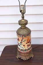 Antique Electrified Kerosene Pottery Art Longwy Lamp ?