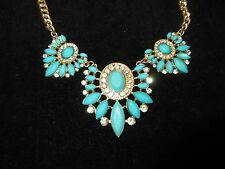 Collar Rhinestone Crystal Statement Necklace Gold Tone Bright Turquoise Shiny