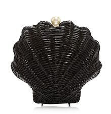 NWT Kate Spade New York SPLASH OUT Pearl Black Wicker CLAM SHELL Clutch Bag Hard