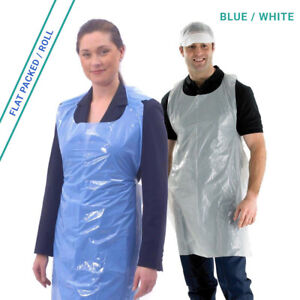 1000 Disposable Aprons Waterproof Polythene Blue or White | Flat Pack or Roll