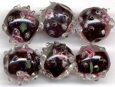 Flower Sputnik Black Lampwork Glass Beads 12mm/6pcs
