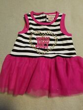 Juicy Couture Dress Pink Tutu Stripe Sparkly Toddler Girls Dress Size 12 Months