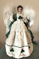 Vintage Christmas Angel Tree Topper Feather Wings Irish Theme Shamrock Dress