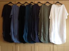 New Ladies Italian Lagenlook Quirky Linen Comfy Plain Casual COCOON Tunic Dress