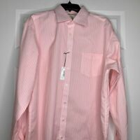 New Thomas Pink Mens Dress Shirt Classic Fit Pink White Striped Size 16.5-35
