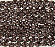 LOOSE CZECH PRESSED GLASS BEADS-OVAL DAISY-JET BLACK & GOLD-15 BEADS-FREE GIFT
