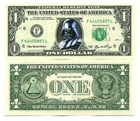 DARK VADOR - VRAI BILLET de COLLECTION 1 DOLLAR US ! STAR WARS C. darth vader