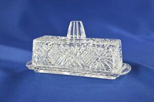 Glass Covered Butter Dish Diamond Pattern