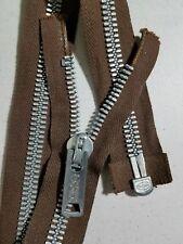 "VTG Jacket Zipper CROWN/COATS CLARK #10 Separating Metal 21""/BROWN/COTTON"