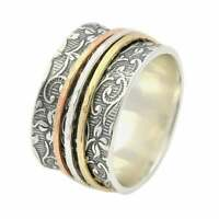 Solid 925 Sterling Silver Spinner Ring Meditation Ring Statement Ring Size st237