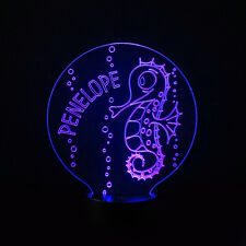 Seahorse Kids Room Personalised Children's Colour LED Night Light Birthday Gift