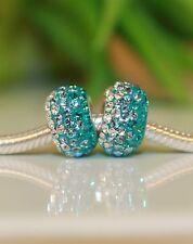 Türkis Weiß Blau Diamant Strass Glas 925 Sterling Silber European Bead Beads