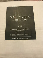 Simply Vera Wang Portuguese Flannel King 4 Pc Sheet Set- Light Grey Nwt