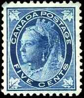 Canada #70 mint VF OG HR DG 1897 Queen Victoria 5c dark blue Maple Leaf CV$250
