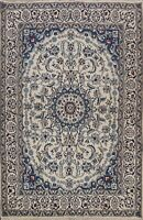 Vintage IVORY Floral Nain Hand-knotted Area Rug Medallion Oriental 5'x6' Carpet