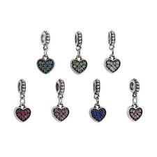 10pcs Mixed Silver Crystal Love Pendant BEADS Fit European Charm Bracelet