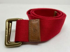 Vintage Polo Ralph Lauren Red Canvas Leather Belt Pony Brass D-Ring Buckle