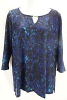 NOTATIONS Blouse Women's Small Multi Color Shirt 3/4 Sleeve Key Hole Neckline
