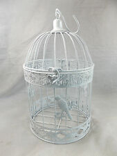 Gorgeous Hanging Bird Cage Plant Holder ~ Grey/White Plastic Coated Metal