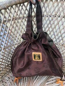 Vintage MCM Heritage Mini Bucket Double Handle Nylon Bag