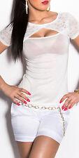 top tee shirt koucla blanc dos dentelle fashion femme S/M
