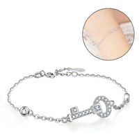 Solid 925 Sterling Silver Sideways Key Clear CZ Pendant Link Chain Bracelet