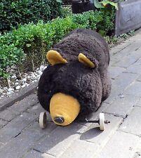 Alter Teddybär / Bär auf Rollen - LxHxB 67x30x28cm
