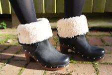 UGG® AUSTRALIA LYNNEA BLACK LEATHER PULL ON CLOG BOOTS UK 6.5 EUR 39 USA 8 £245