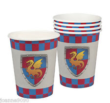 Knights And Dragons Medieval Birthday Party X 6 Paper Cups Tableware Partyware