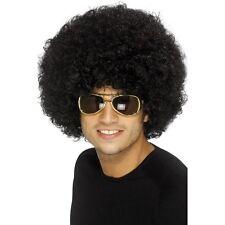 Black disco funky afro perruque adulte unisexe smiffys fancy dress costume