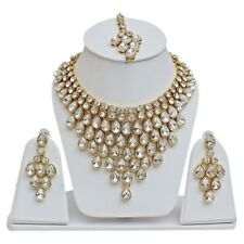 WHITE INDIAN NECKLACE SET RANI HAAR BOLLYWOOD WEDDING JEWELRY