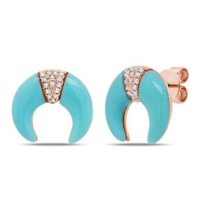 14K Rose Gold Turquoise Diamond Crescent Stud Earrings Pushback Moon 1.95 TCW