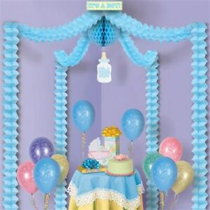 Baby Shower Canopy It's a Boy Covers approximately 20'x20' Paper Blue Decor