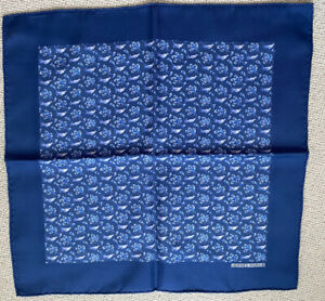 HERMES pocket square, 100% Silk, used but in prestine condition