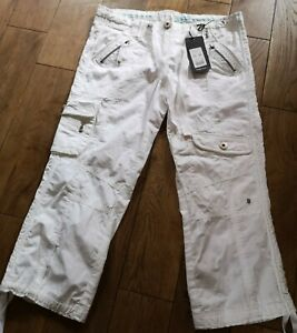 Ladies Cropped Cargo Trousers White 10 Newlook