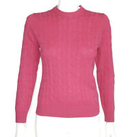 Brooks Brothers Rare 4-PLY 100% Cashmere Pink Cable Knit Women's Sweater XS 4857