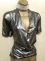 Karen Millen UK 10 Silver Shimmer Vet Look Wrap Top Blouse Party Evening