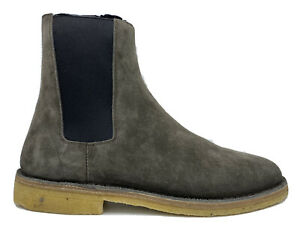 $845 Saint Laurent Bronze Suede Chelsea Boots size US 13, Made in Italy