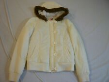 ROXY Hooded Winter Jacket Girl's M Off White Great Condition