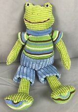 "Maison Chic Green Blue Stripes Corduroy Boy Grady Frog Plush 14"" stuffed animal"