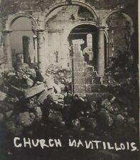 "1918 WWI Bombed Church Nantillois France B&W Photograph 3.5 x 2.5"""