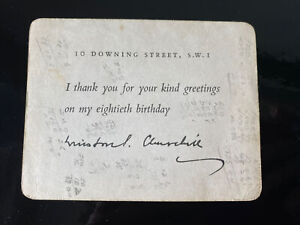 Winston Churchill Signed Card Greetings On His 80th Birthday 1954