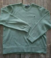 XL POLO RALPH LAUREN Mens V-Neck Cotton Sweater Green Blue Pony sz X-Large EUC