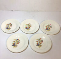 Edwin Knowles Semi Vitreous Sleeping Mexican Bread Butter Plates Vtg Set Of 5