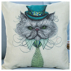 UK Retro Vintage Lovely Bone Cat Linen Throw Pillow Case Cushion Cover