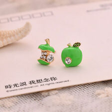 Green Apple Rhinestone Crystal Stud Earring earrings Gold Plated Jewellery uk