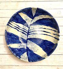 Beautiful Ellen Evans 2010 Ceramic Pottery Zebra Cobalt Large Terrafirma Bowl