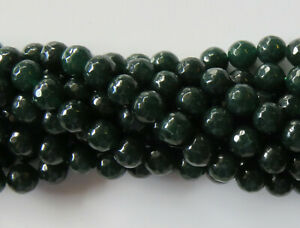 50pcs 8mm Round Gemstone Beads - Faceted Malaysian Jade - Dark Forest Green