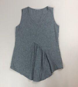 Cut- Loose Linen Cotton Blend Asymmetrical Flounce Front Sleeveless Top Sz S